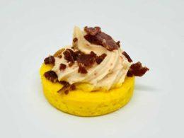 Clafoutis De Maïs. Crème Au Piment D'Espelette. Copeaux Des Grisons